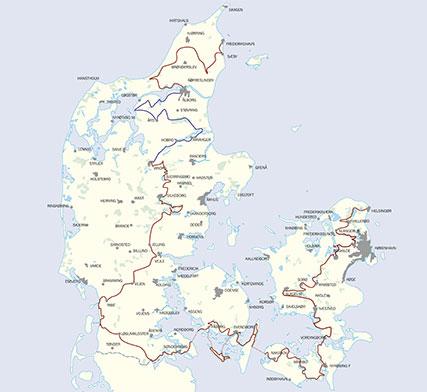 Den danske Klosterrute. Kort over ruten