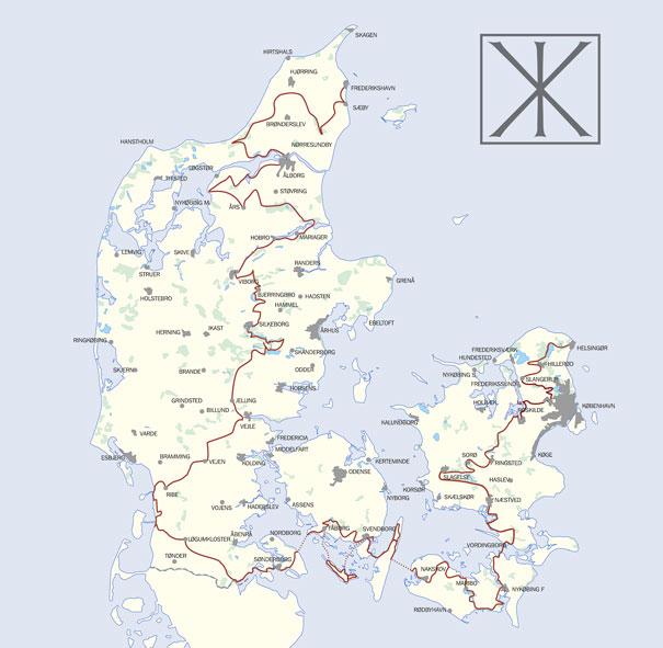 Danmarkskort med klosterruterne indtegnet