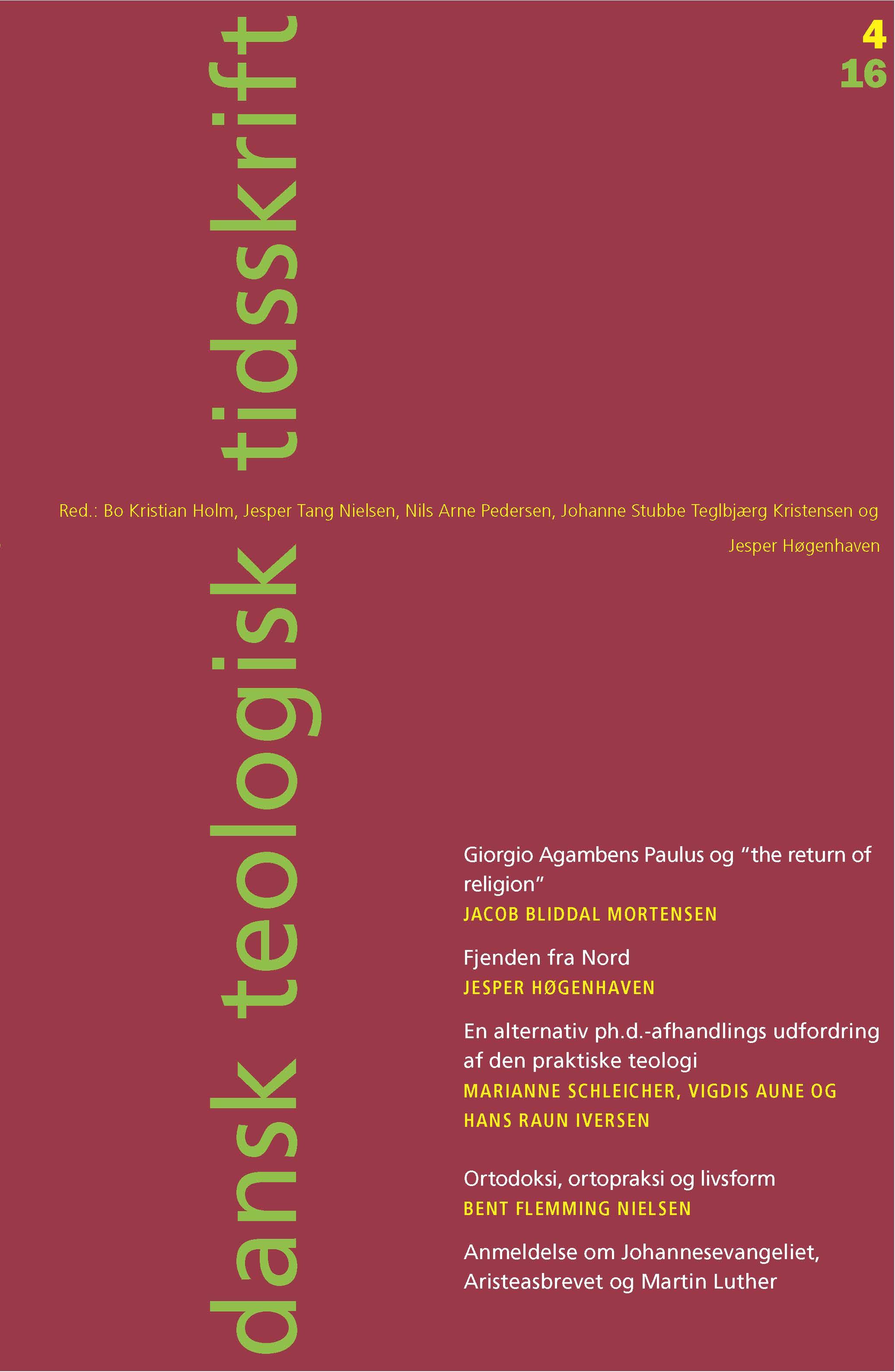 Dansk Teologisk Tidsskrift nr. 4, 2016